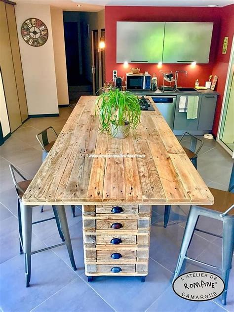 wood kitchen island table recycled pallet kitchen island table dining table