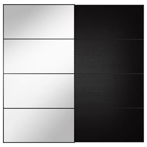 Ikea Wardrobes auli ilseng pair of sliding doors mirror glass black brown