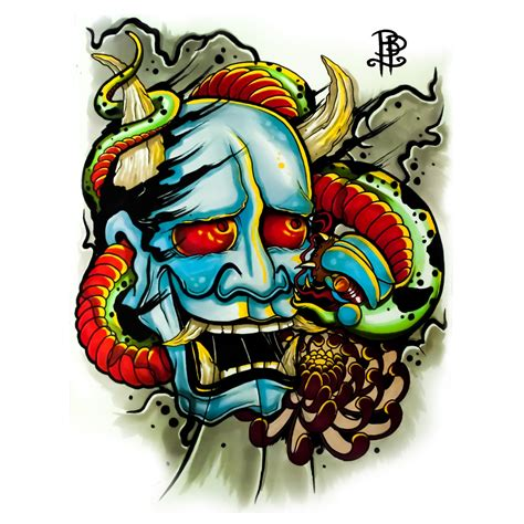 japanese hannya mask and snake tattoo print 187 tattoo ideas