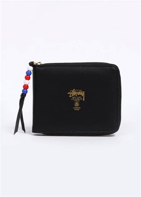 zip bead stussy classic bead zip wallet black