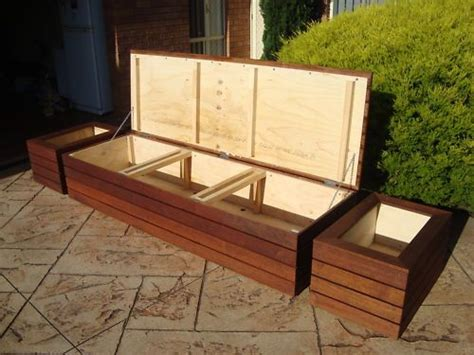 patio storage bench seat merbau outdoor storage bench seat planter boxes screens