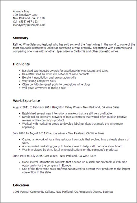 Wine Club Manager Sle Resume by Professional Wine Sales Templates To Showcase Your Talent Myperfectresume