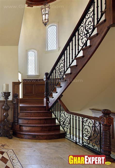 Wooden stairs railing design   GharExpert