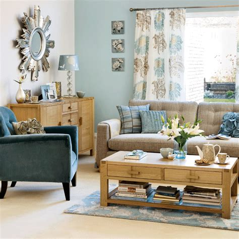 Blue Living Room Brown Sofa Our Four Walls And A Roof A Of Duck Egg Blue