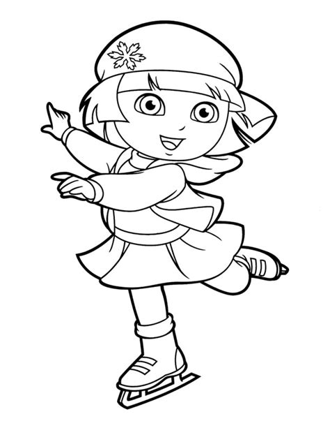 dora winter coloring pages free coloring pages of dora ice skating