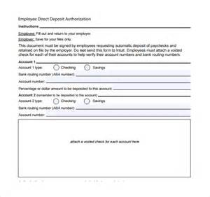 direct deposit forms for employees template sle direct deposit form 8 free documents in