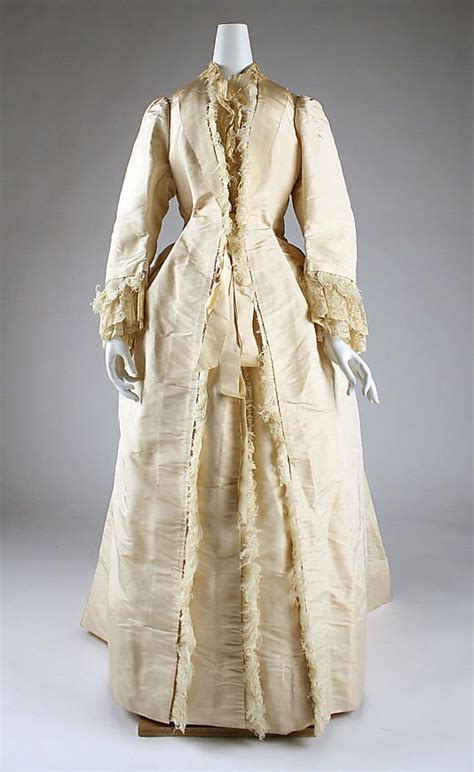 silk dress with ostrich feather trim c 1875 costumes