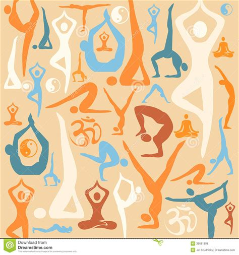 yoga pattern vector yoga silhouette icons pattern background stock vector