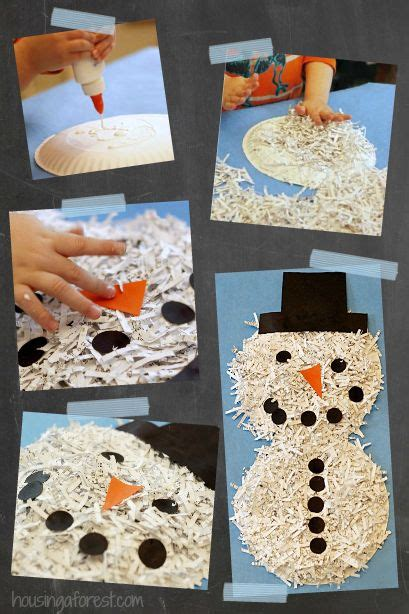 shredded paper crafts shredded paper snowman simple recycled craft for