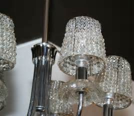 Chandelier L Shades With Crystals 1940 S Chandelier W Pendants And Beaded