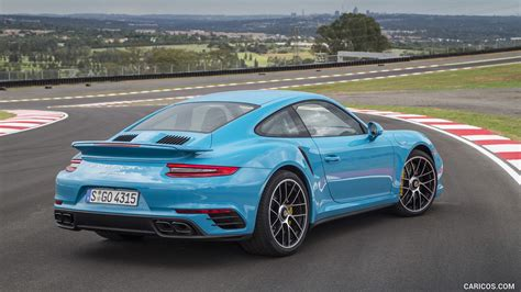 2016 Porsche 911 Turbo S Coupe Color Miami Blue Rear