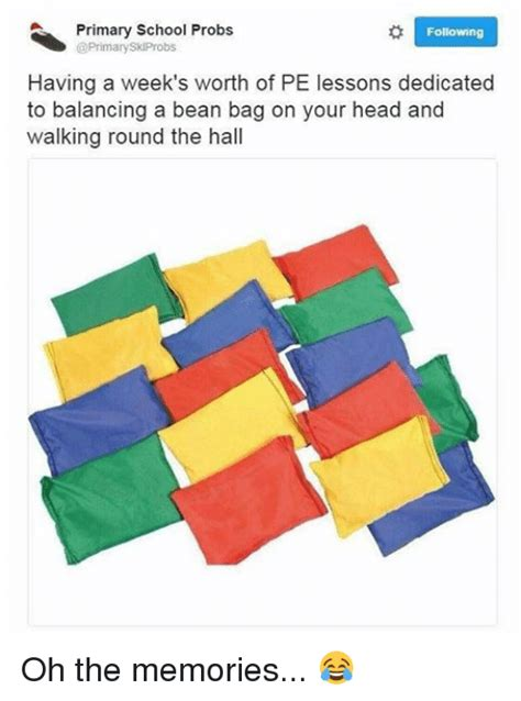 pe lesson bean bags primary school probs following skiprobs a week s