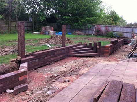 Railway Sleepers Retaining Wall by Retaining Walls Steps With Railway Sleepers