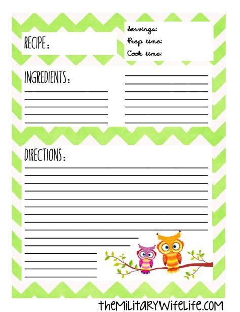 printable recipes uk free printable recipe binder page recipe binders binder