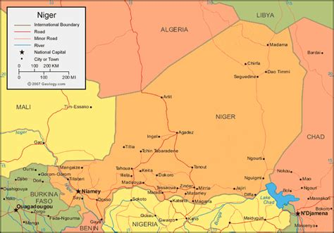 political map of niger niger map and satellite image