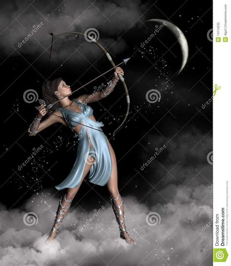 Huntress Moon diana artemis the huntress with crescent moon stock