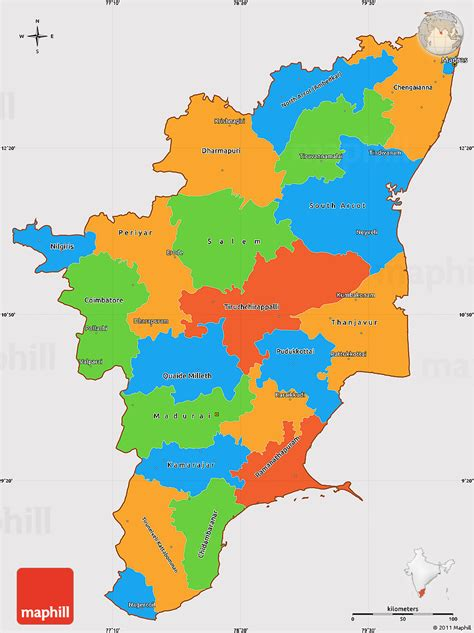 Tamilnadu Outline Map India by Political Simple Map Of Tamil Nadu Cropped Outside