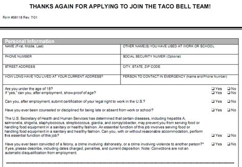 printable job applications for taco bell taco bell job application pdf jvwithmenow com