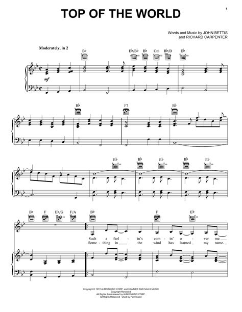 best sheets in the world top of the world sheet music by carpenters piano vocal