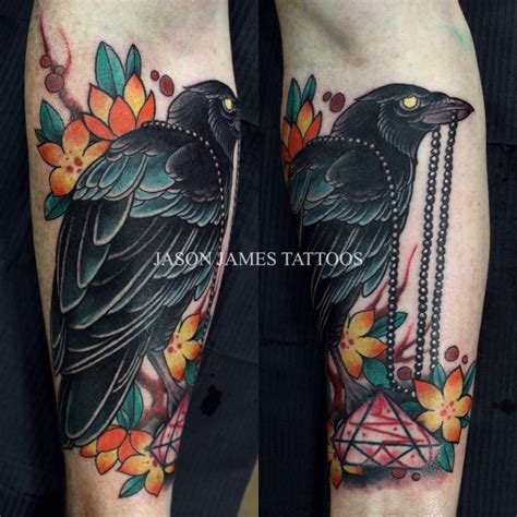 american crow tattoo and cherryblossoms by jason tattoos