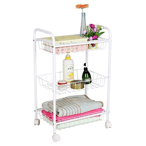 rolling bathroom storage cart songmics 3 tiers rolling storage cart with 2 removable