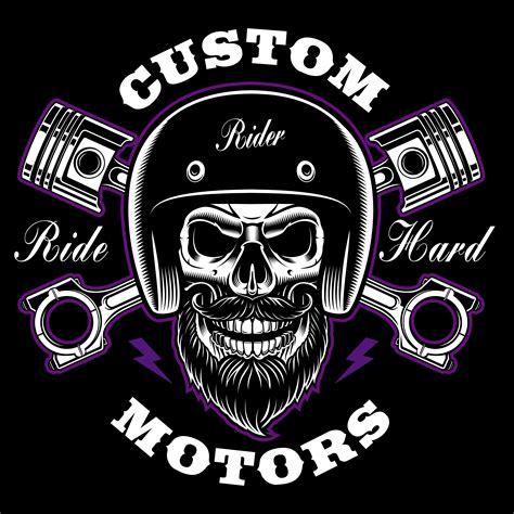 biker skull  beard  crossed pistons
