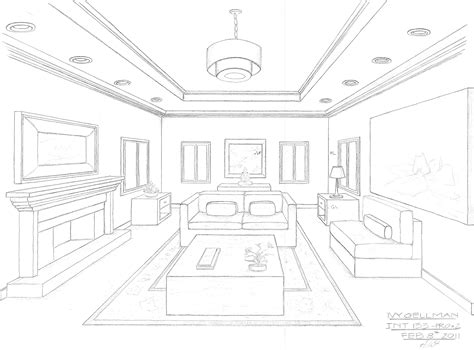 interior drawing interior design perspective drawing