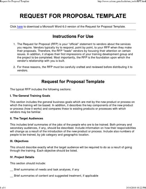request for proposal template word template design