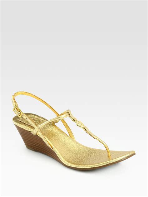 burch emmy sandals burch emmy metallic leather wedge sandals in gold lyst