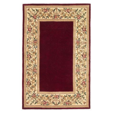 Ruby Rugs by Kas Rugs Lush Floral Border Ruby 8 Ft X 10 Ft 6 In Area