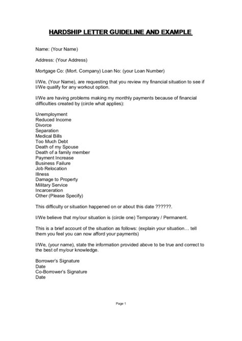 Hardship Letter Because Of Divorce hardship letter template with guidelines printable pdf