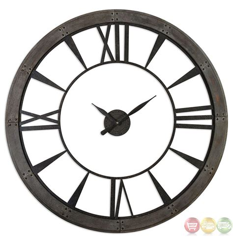 ronan rustic bronze large wall clock 06084