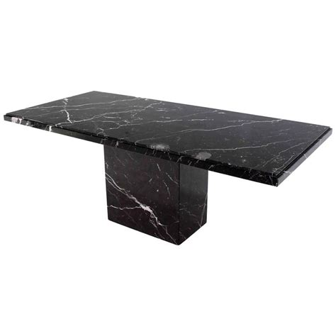Marble Pedestal Dining Table Single Pedestal Black Marble Top Dining Table At 1stdibs