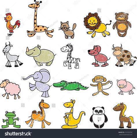 Children S Drawings Of Doodle Animals Stock Vector