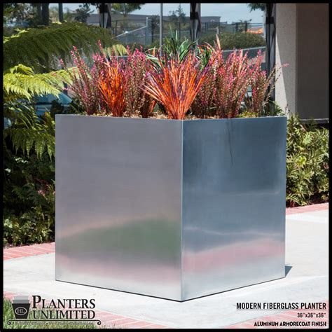 Modern Commercial Planters by 20 Quot Square Fiberglass Planters Large Custom Sizes
