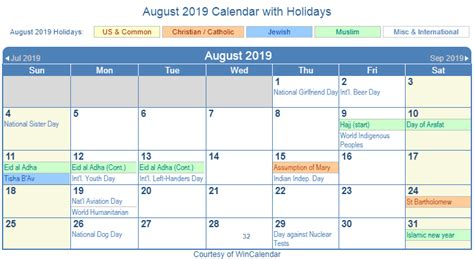 2019 Calendar With Us Holidays Print Friendly August 2019 Us Calendar For Printing