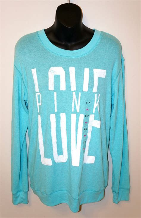 Where To Buy Victoria Secret Gift Cards Canada - victoria s secret love pink sweater long sleeve shirt top aqua green small crew