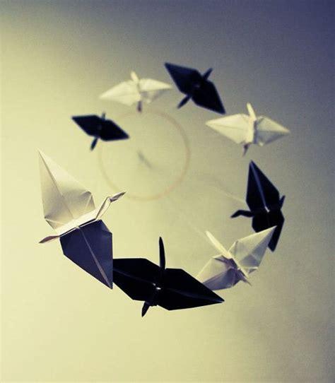 Black Origami Paper - origami spiral mobile black and white cranes origami