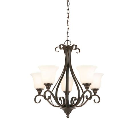 chandeliers bronze hton bay 5 light rubbed bronze chandelier iay8115a