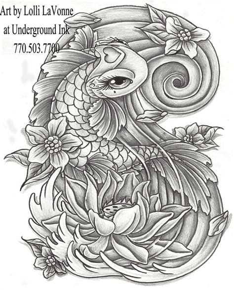 girly dragon tattoo designs girly koi cb and lotus grey by lavonne on deviantart