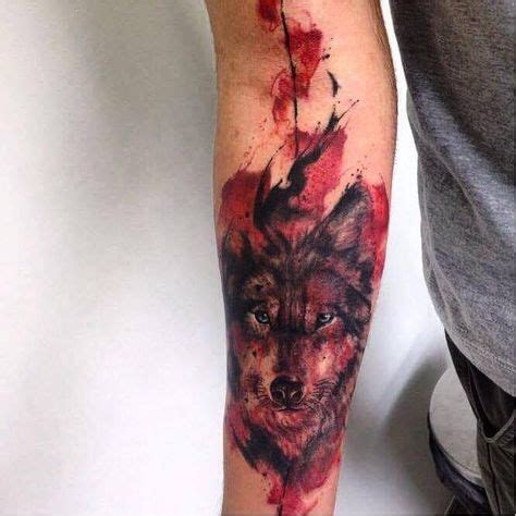 watercolor tattoo needle feita por needle johnneedle jonathanbrito wolf