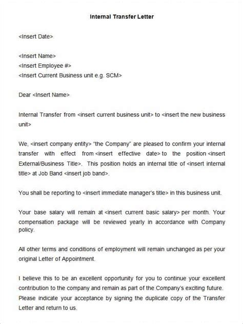 33 transfer letter templates free sle exle format free premium templates