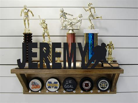 Personalized Shelf by Personalized Hockey Puck Holder Trophy Shelf