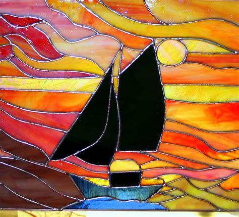 Sunset schooner stained glass panel