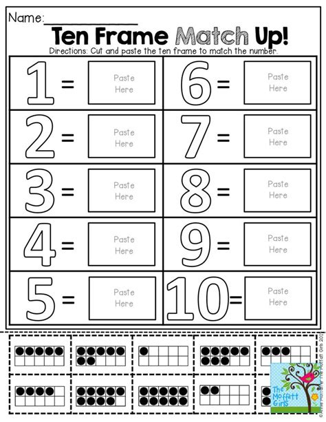 10 Frame Worksheets by Ten Frame Match Up Cut And Paste The Ten Frame To Match