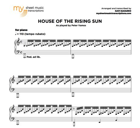 sun house music house of the rising sun peter vamos sheet music pdf