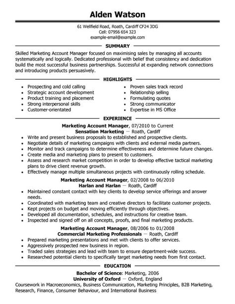 marketing manager resume best account manager resume exle livecareer