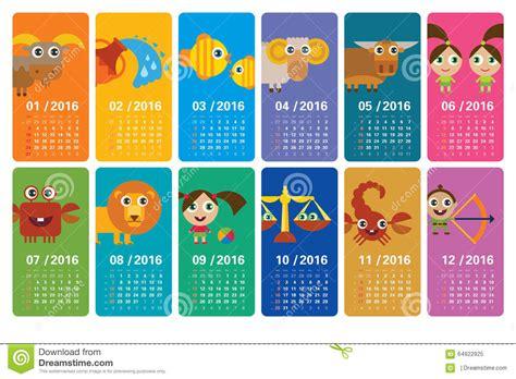 Calendario Zodiacal Zodiac Calendar 2016 Stock Illustration Image