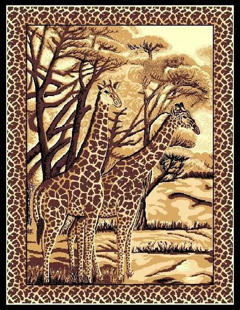 safari rug novelty safari animals giraffe design 5x8 area rug carpet mat ebay