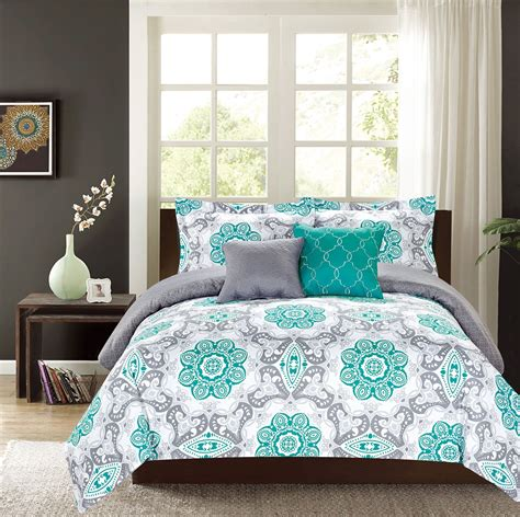 Crest Home Sunrise King Comforter 5 Pc Bedding Set Teal Teal Bedding For